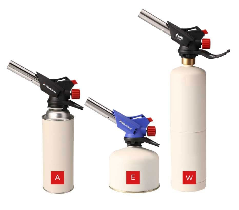 Three Pro-Iroda's Butane Cartridge Torches attached on different connections