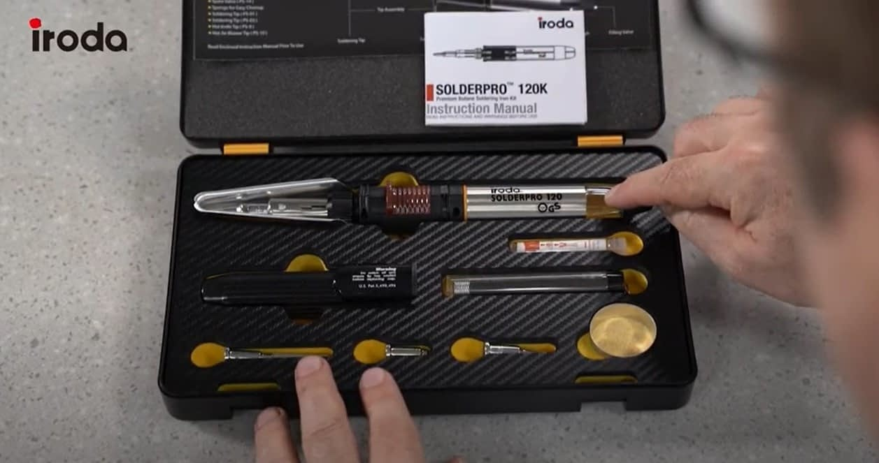SOLDERPRO 120 Professional Butane Soldering Iron Kit fits nicely into the soldering kit and comes with 3 additional soldering tips