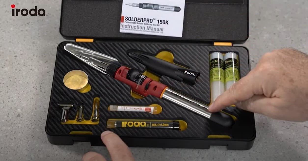 SOLDERPRO 150 Professional Butane Soldering Iron Kit fits nicely into the soldering kit and comes with 3 additional soldering tips