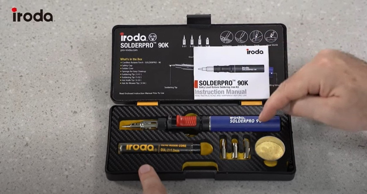 SOLDERPRO 90 Professional Butane Soldering Iron Kit fits nicely into the soldering kit and comes with 3 additional soldering tips