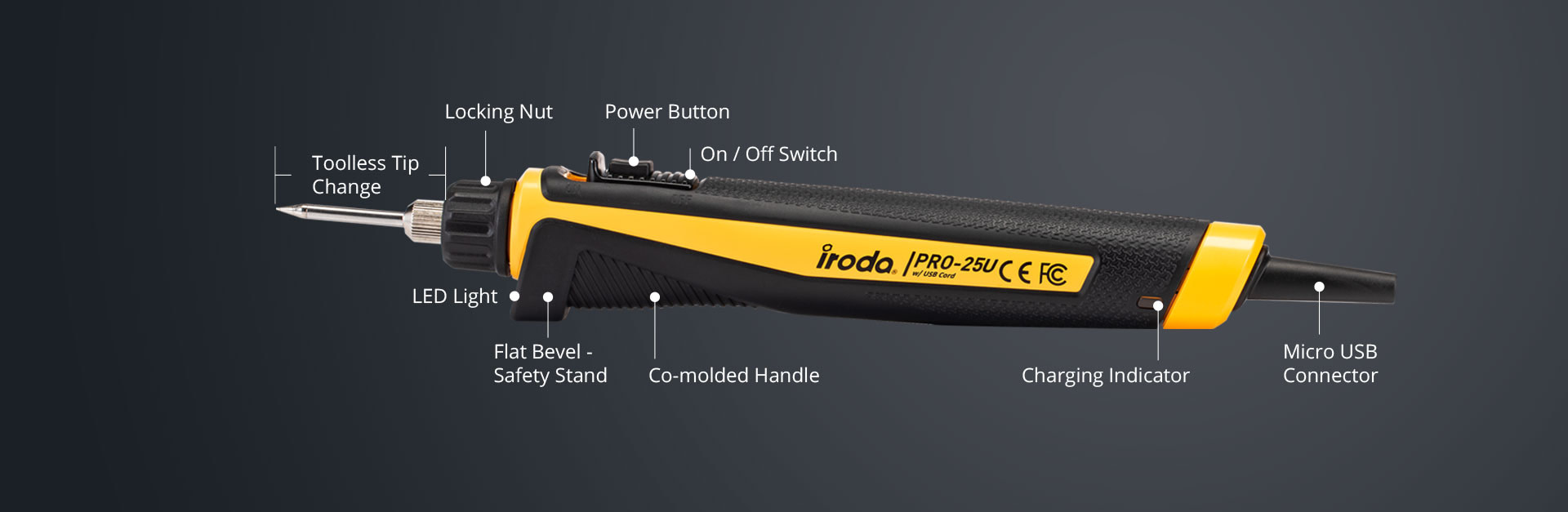 Main key features and description of PRO-25U Professional USB Cordless Soldering Iron from Pro-Iroda