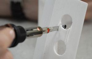 Butane Powered Hot knife cutting thin ABS plastic